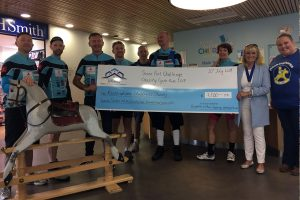 Cyclists from this year's Seven Port Challenge Charity Cycle Ride have presented a cheque to each of the ex-Mayor Cllr. Dee Simson's benefitting charities.