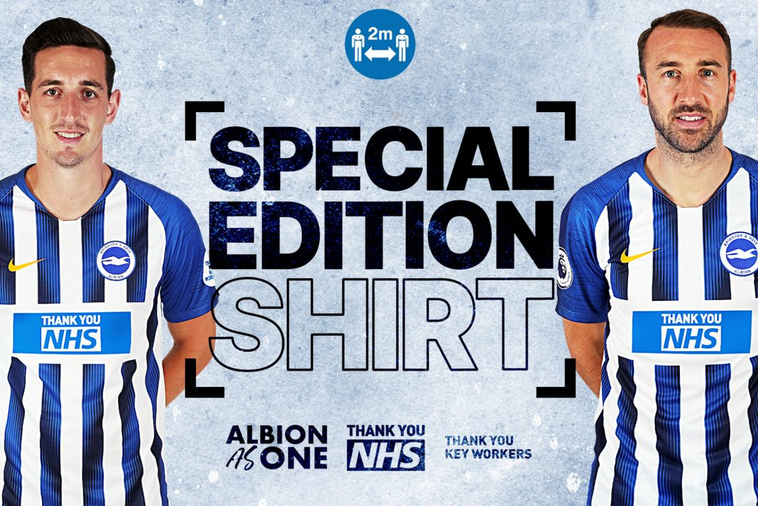 Brighton & Hove Albion have created a special home shirt thanking the NHS and other frontline key workers