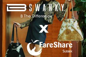 American luxury handbag company BSWANKY is partnering with FareShare Sussex to give 20% of all sales to fight hunger and tackle food waste
