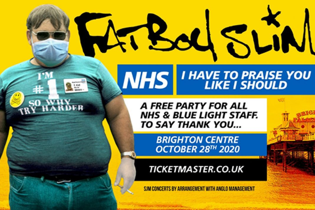 Fatboy Slim is hosting a special free show for emergency workers at Brighton Centre on Weds 28 Oct 2020