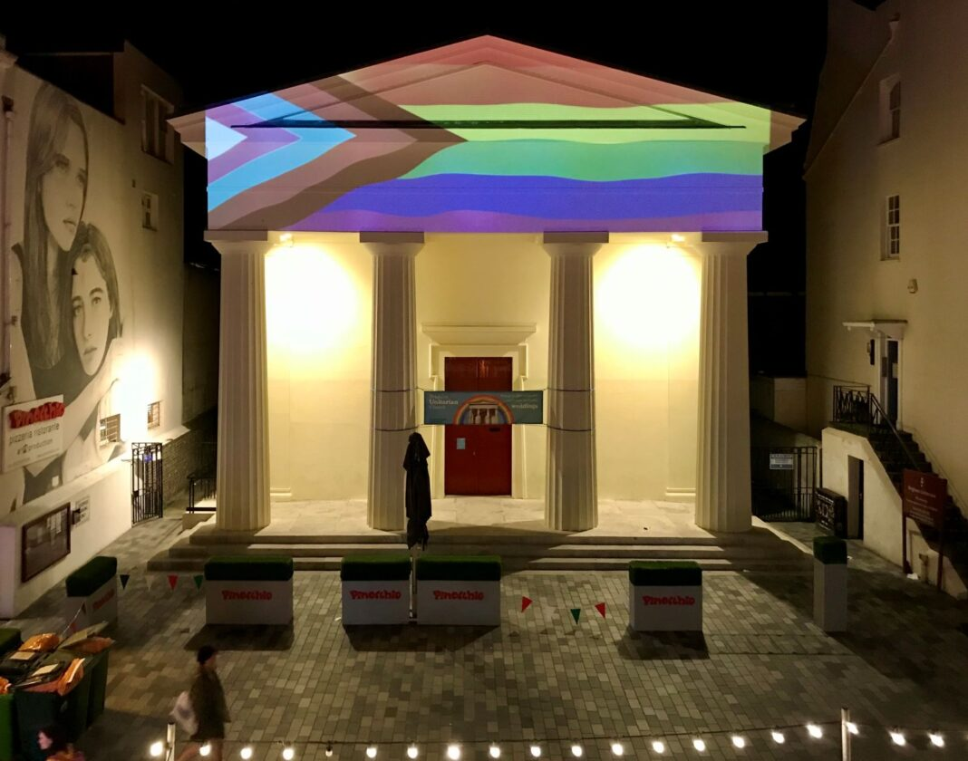 Brighton Unitarian church Pride 2020 projection