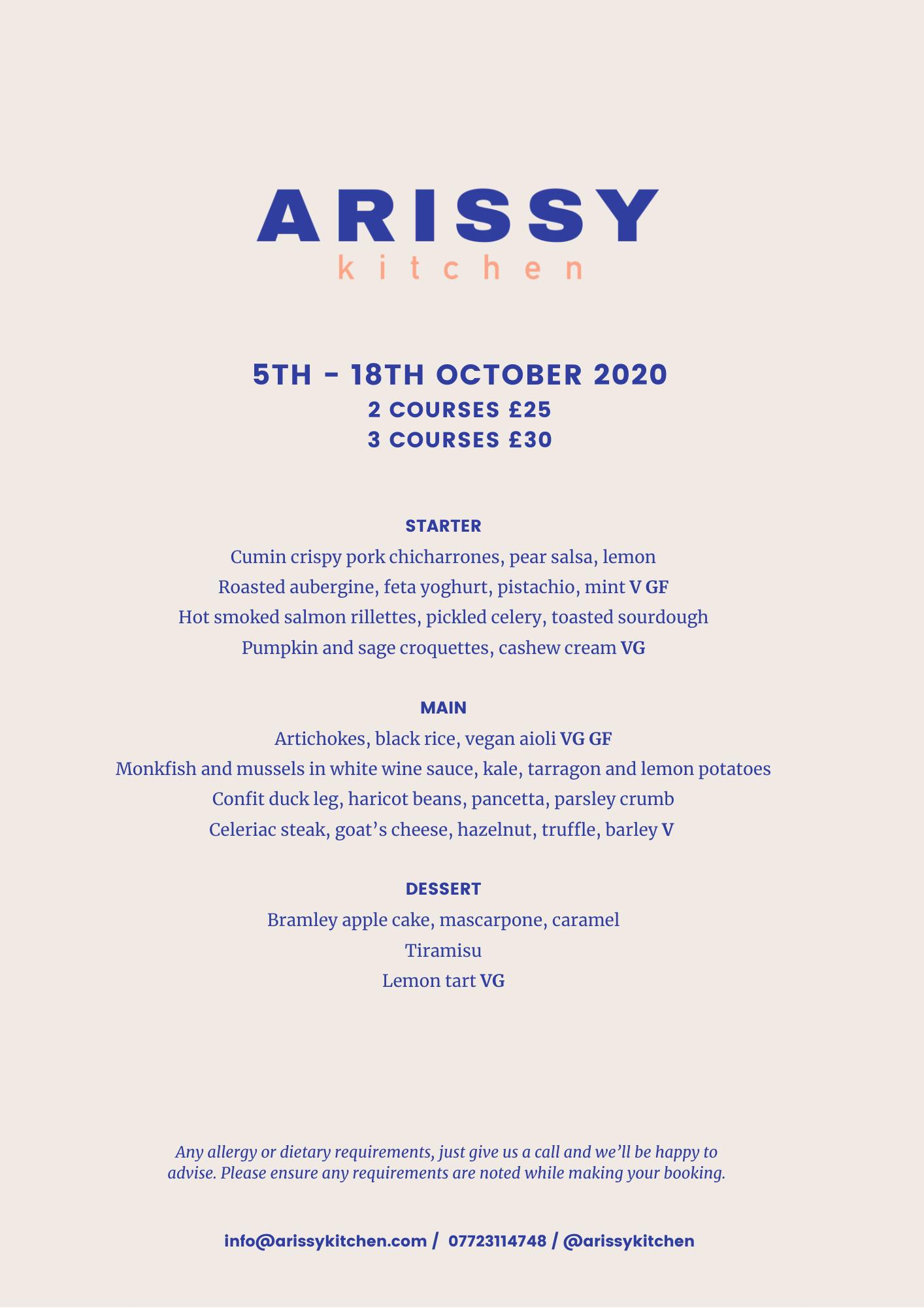Arissy Kitchen Oct Menu