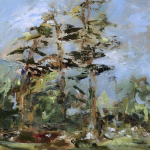 The Cedars - Oil on Wood Panel