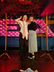 Orla and her sister Cliona, a nurse at Royal Sussex County Hospital, photographed after their final Brighton Fringe performance by husband and composer, David Sanders