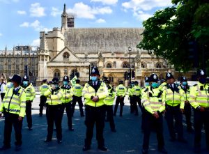 Police in front of Houses of Parliament