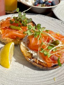 Salmon Bagel by Caught by Crab Shack