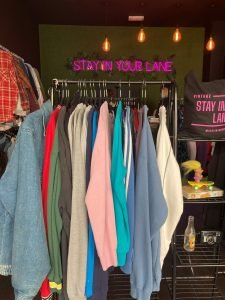 North Laines, Brighton, vintage shop clothes Stay in your lane